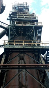 The five blast furnaces tower 200 feet above the ground.